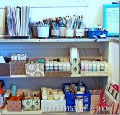 Organized craft space... she used items she already owned to organize a craft space in her bedroom.  Made it all pretty, but easy to get to.