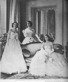 Vogue, 1954  -three Italian debutantes. For when mother dresses you in white gloves & you know sneaking a smoke in the ladies room will be next to impossible.