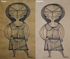 Registro comparativo - desenho de nanquim sobre papel atribuído a/assinado por Aldemir Martins. Ateliê, Arte e Restauração. #aldemirmartins #artrestoration #restorer #artconservation #desenho