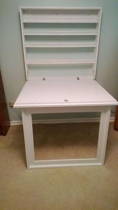 Fold up Craft Table and Storage Shelves. Use fold out table idea in conjunction w armoire or secretary?
