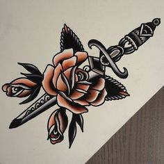 Dagger tattoo. Rose. Traditional.