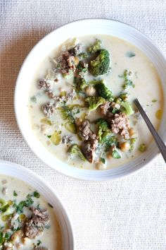 Creamy Italian Sausage and Broccoli Soup--try this with a different white bean.