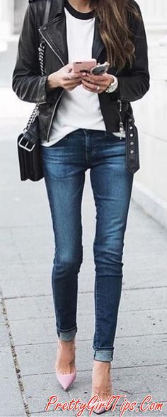 #spring #summer #street #style #inspiration | Black and White   Denim   Pop Of Blush