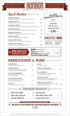 Bonbon Pastry & Cafe - Menu
