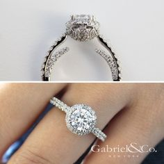 a54839e5142b8 Gabriel and Co. round diamond engagement ring with a round halo and diamond  shank. Beautiful diamond work on head