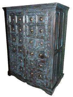 Antique Armoire Furniture Blue Patina Hand Carved From India $2,750.00