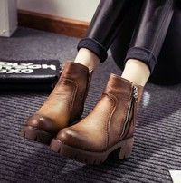 Fashion Woman Leather Ankle Boots Retro Short Boots High Heel Boots 34 EU -- 22cm (Foot Length) --