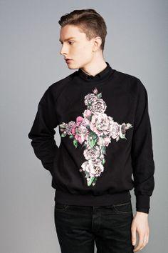 Black Sweatshirt With Peonies Cross via KOLYA KOTOV.