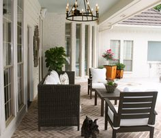 Herringbone brick back patio. BM Ballet white and Brandon beige accent