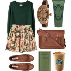 Green brown and floral