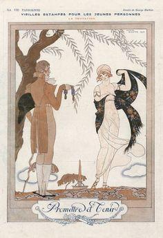 1920 La Vie Parisienne inside page by George Barbier  ''Promettre et Tenir''