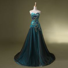 Hey, I found this really awesome Etsy listing at https://www.etsy.com/listing/192374691/peacock-prom-dress-long-split-strapless