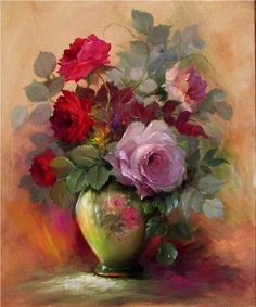 """Roses in a Painted Vase"" - by Gary Jenkins"