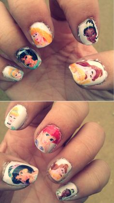 such a good idea!   Buy Disney Princess temporary tattoos  Paint your nails white  Trim the tattoos  Put them on your nails.