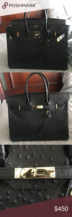 OSTRICH BIRKIN 35, GOLD HARDWARE Ostrich 35 Hermes Birkin. Comes with dustbag. Lock & 2 keys. Receipt book. DONT ASK THE OBVIOUS. Insanely good quality!! Hermes Bags Totes