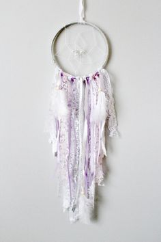 Silver Dream Catcher, Purple Dreamcatcher, Shabby Dreamcatcher, Nursery Decor, Lavender Nursery, Silver Nursery Decor, Shabby Boho,Boho Chic