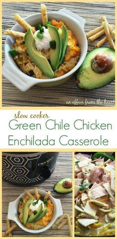 Slow Cooker Green Chile Chicken Enchilada Casserole