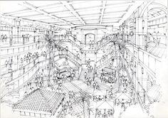 松谷 勉 様作品 : 文化学園大学 建築インテリア学科非常勤講師 www.facebook.com/... 2 Point Perspective Drawing, Perspective Art, Drawing Interior, Interior Design Sketches, Composition Drawing, Architecture Drawing Sketchbooks, Section Drawing, Fun Card Games, Urban Sketching