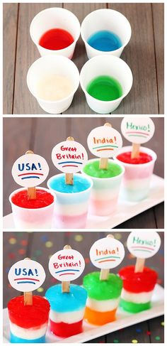 Flag Freezer Pops are a fun idea for World Cup soccer kids. Soccer Birthday Parties, Soccer Party, Birthday Fun, Frozen Desserts, Frozen Treats, Just Desserts, Soccer Decor, Do It Yourself Food, New England Patriots