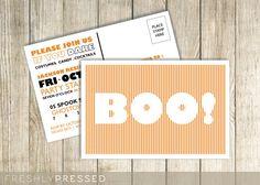 Adult birthday party invitation postcard by freshly pressed prints custom halloween party invitation postcard boo filmwisefo