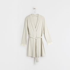 Image 4 of the product Lace sleeve detail striped dressing gown
