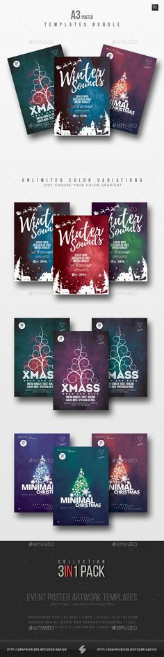 Buy Winter Sound - Alternative Christmas Party Flyer Templates Bundle by on GraphicRiver. Winter party flyer templates Christmas and winter holidays party poster collection – Pack of 3 creative size poste. Christmas Party Activities, Christmas Party Outfits, Christmas Flyer Template, Christmas Templates, Minimal Christmas, Party Poster, Party Flyer, Grafik Design, Vintage