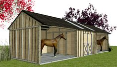 Outpost Horse Shelters with Tackroom in between