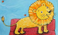 Roar along with this friendly Lion!  This original signed Illustration is from my book The Wheels on the Bus, on sale in my Etsy shop.