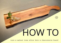 DIY Charcuterie Board Or Cutting Board - Rustic Crafts & Chic Decor Make your own DIY charcuterie board from a wood slab. My charcuterie board is made with a slab from a walnut tree and has the live edges. Rustic Cutting Boards, Diy Cutting Board, Diy Rustic Decor, Rustic Crafts, Woodworking Plans, Woodworking Projects, Woodworking Jigsaw, Woodworking Furniture, Diy Wood Projects