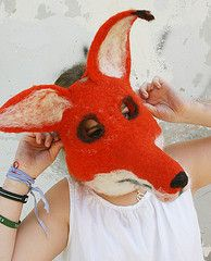 Running With Scissors Studio The Blog, needle felted Hallowe'en masks by Laura Lee Burch