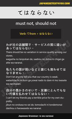 Learn Japanese Grammar: てはならない (tewa naranai)