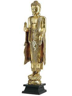 Beeindruckender, handgefertigter Buddha. Aus Akazienholz, teilweise blattvergoldet. Materialzusammensetzung: Basiskomponente: 100% Akazie Verzierung: 100% Glassteine...
