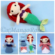 The Little Mermaid - Princess Ariel Amigurumi Doll with Changeable Clothes Plush Toy (Crochet Pattern Only Instant Digital Download) xMangoRose 6.99 USD September 29 2015 at 12:43PM