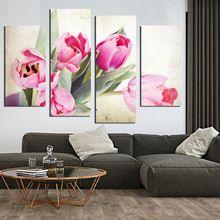 4 Painéis Tulipas Pintura Da Lona para Sala de estar Retrato Da Arte Da Parede Decoração da Casa Do Presente Frete grátis (com quadro) F18822(China (Mainland))