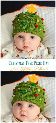 Christmas Tree Hat & Elfin Socks Knitting Free Pattern - Kids Free Patterns Kids Pixie Hat Free Knitting Patterns: collection of knitted pixie hat for baby and kids, collared pixie, pixie beanie, gnome pixie, Christmas tree pixie. Baby Knitting Patterns, Knitted Socks Free Pattern, Baby Hats Knitting, Mittens Pattern, Knitting For Kids, Knitting Socks, Free Knitting, Knitting Projects, Crochet Socks