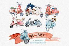 Watercolor Retro Vespa Clipart by ArtCreationsDesign on @creativemarket