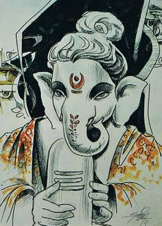 """Rudrapriya : Ganesha Beloved Of Lord Shiva!!  ITEM NO: 64  SIZE: 16.5"""" x 11.5""""   TITLE: GANESHA PAINTING  MEDIUM: MIX MEDIA (PEN, INK & WATER COLOR)  ** AVAILABLE WITH & WITHOUT FRAME UPON REQUEST **  ** PRICE UPON REQUEST **  krasne.art@gmail.com"""