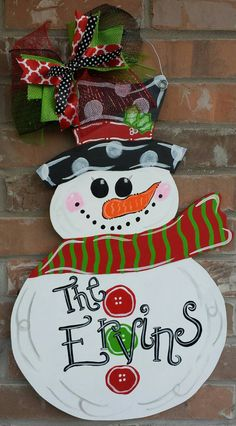 Hand Painted Snowman Door Hanger by KatelynnAlaineDesign on Etsy