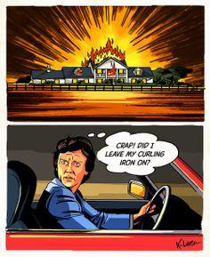 Bobby Ewing inferno at Southfork.