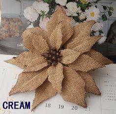 Free shipping D=23cm BURLAP Poinsettia flowers W/clip W/glitter Artificial flowers Christmas Tree Ornament  BS002-B