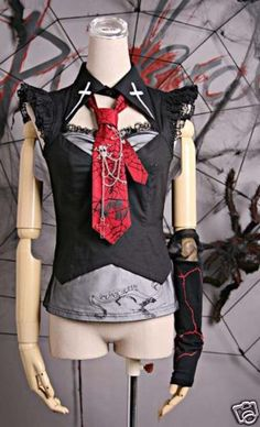 Nana Fahion Visual Kei Punk Gothic Lolita Top T Shirt with Tie Skull Cross