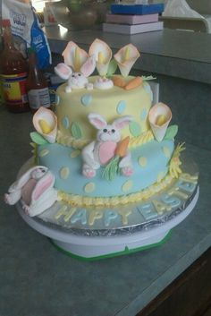 Easter Theme Cake, Bunnies are made with gum paste