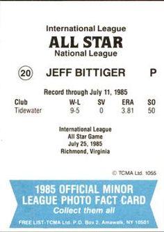 1985 TCMA International League All-Stars #20 Jeff Bittiger Back