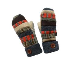 Wool Sweater MITTENS Recycled wool Mittens Hippie by SweatyMitts Patchwork Mittens, Women's Mittens, Upcycled Mittens, Fleece Lined Mittens