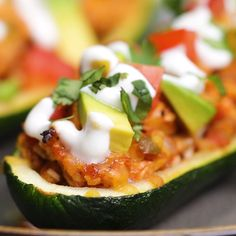 Chicken Enchilada-Stuffed Zucchini Boats #recipes #healthy #chicken #zucchini