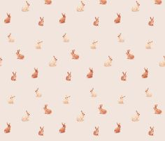 Bunnies Scattered on Soft Pink fabric by thistleandfox on Spoonflower - custom fabric