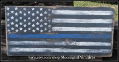Distressed American Thin Blue Line Flag, Police, Thin Blue Line, Flag, LEO, Thin Blue Line, Law Enforcement, Flag, Distressed Signs by MoonlightPrimitives on Etsy https://www.etsy.com/listing/187190172/distressed-american-thin-blue-line-flag