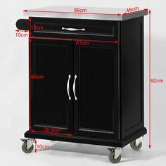 SoBuy Luxus-Carrito de cocina con piso de acero, estantería de cocina, carrito de servir de madera, FKW13-SCH(negro/P66*L46*A92cm),ES: Amazon.es: Hogar