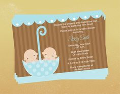 Printable Cute Twin Boys in Umbrella Baby Shower Invitation-DIY- Coordinating Items available-thank you c ard, Cupcake toppers, etc 117B