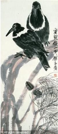 Qi-baishi-1863-1957-china-birds-and-pine- Qi Baishi was an influential Chinese painter. Born to a peasant family from Xiangtan, Hunan, Qi became a carpenter at 14, and learned to paint by himself. After he turned 40, he traveled, visiting various scenic spots in China.